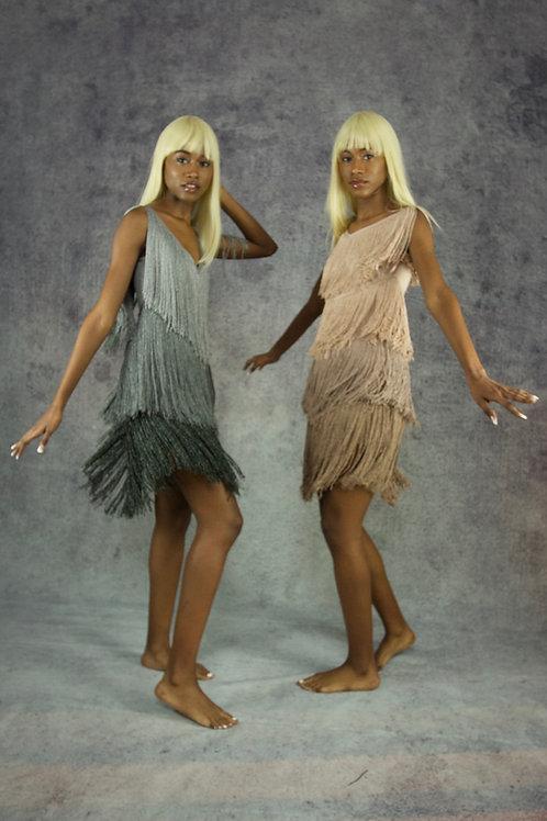 Argento Ombre Lurex Fringe Dress