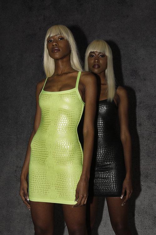 Neon Croco Puffer Dress