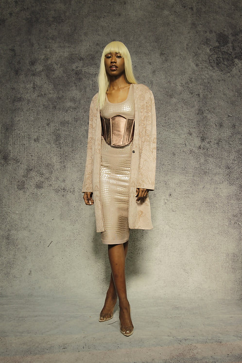 Nude Coat with Gold Lurex Angeles