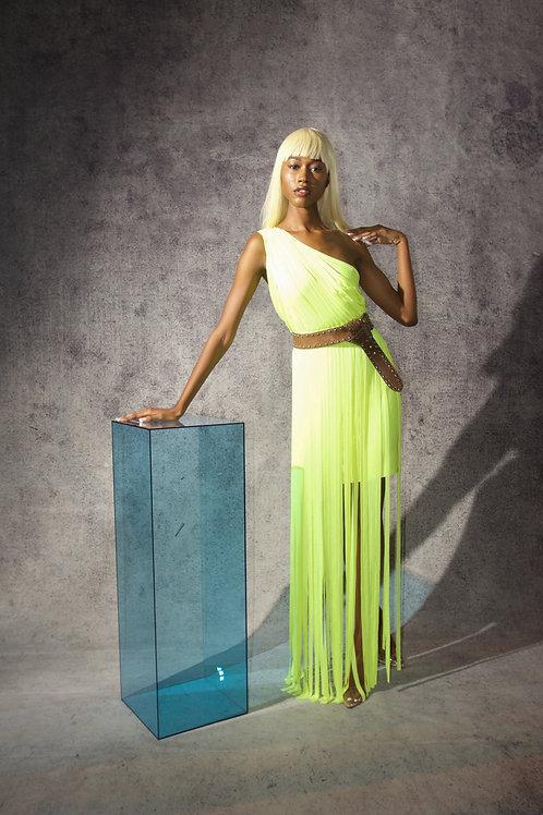 Neon Fringe One Shoulder Gown