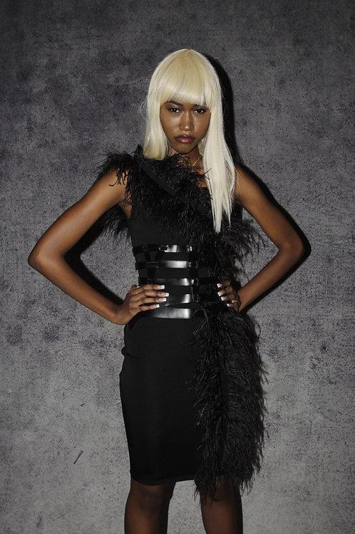 Black One Shoulder Ostrich Feather Dress
