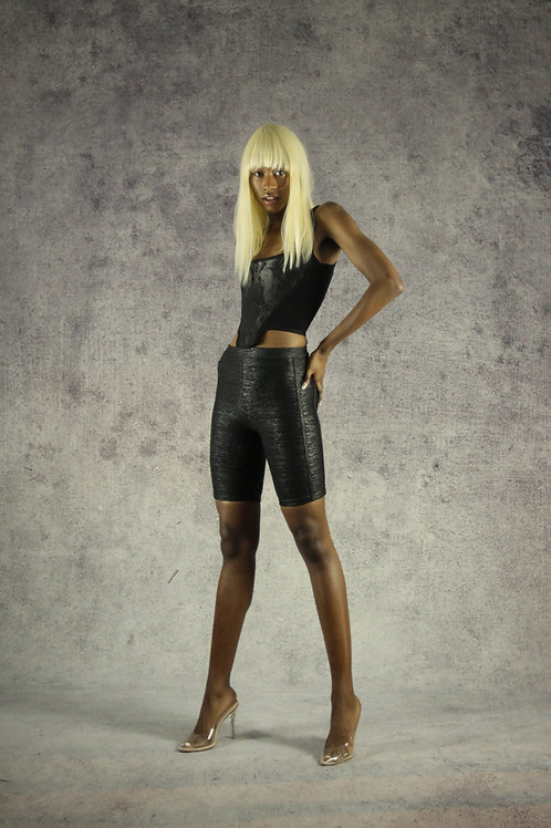 Black Foil Shorts