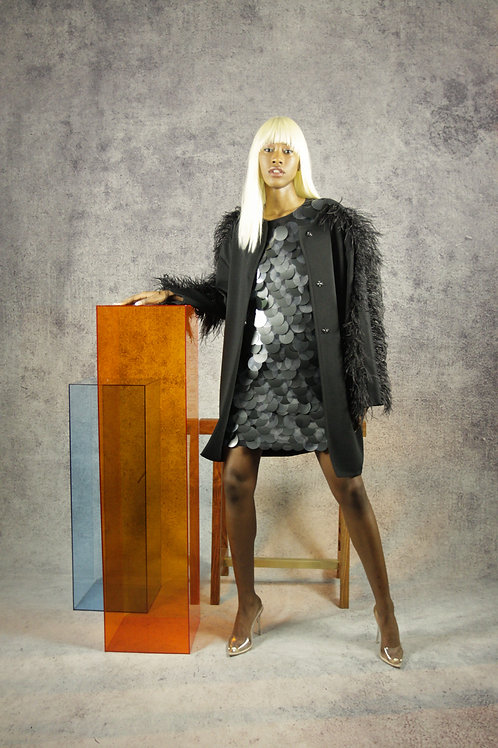 Black Ostrich Feather Coat