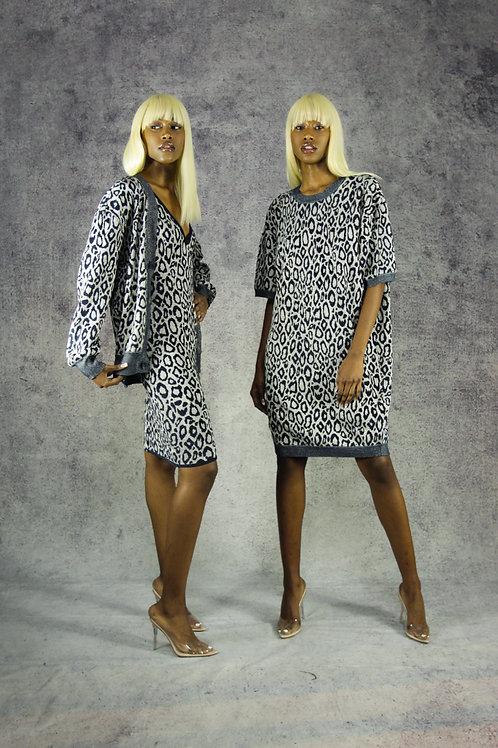 Argento Chenille Leopardo T-Shirt Dress
