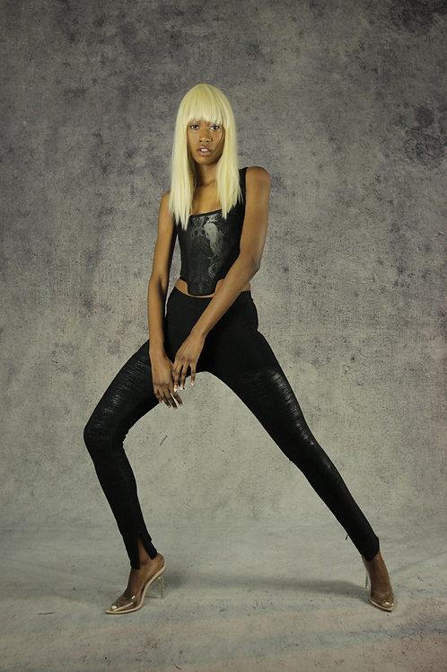Black Partly Foiled Leggings
