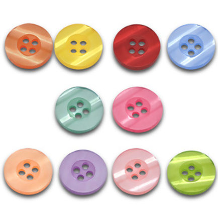 Pearlised effect baby buttons 15mm ( Round resin)- set of 5