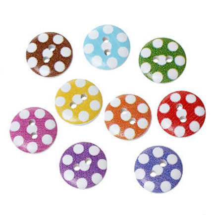 Polka Dot (White) Baby Buttons 15mm ( Round resin)- set of 5