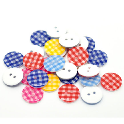 Gingham baby buttons 15mm ( Round plastic)- set of 5