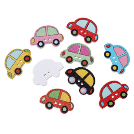 Car Design Baby Buttons 25mm ( Wood)- set of 5
