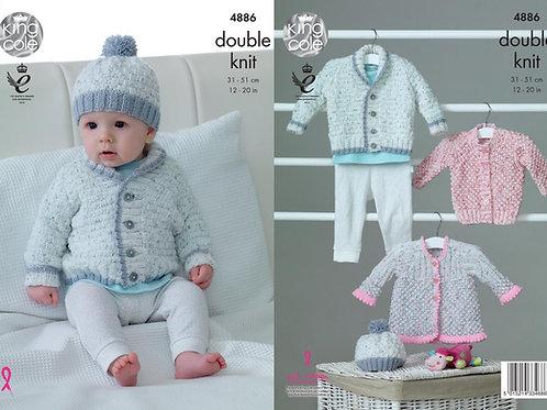 King Cole 4886 Knitting Pattern Baby Jacket Cardigan Coat & Hat in Big Value Bab