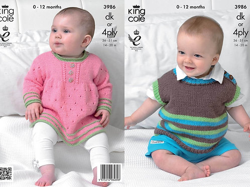 King Cole 3986 Knitting Pattern Angel Top and Pullover in King Cole Comfort DK o