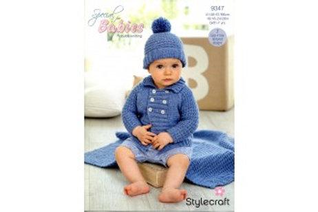 Special For Babies DK Pattern 9347 Jacket, Hat & Blanket