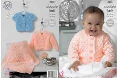 King Cole 4396 Knitting Pattern Cardigans and Blanket in King Cole Baby Glitz DK