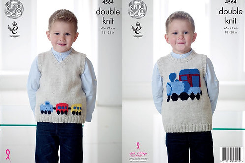 King Cole 4564 Knitting Pattern Childrens Train Tank Tops in King Cole Pricewise
