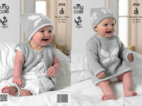 King Cole 3735 Knitting Pattern Baby Set in Comfort Baby DK