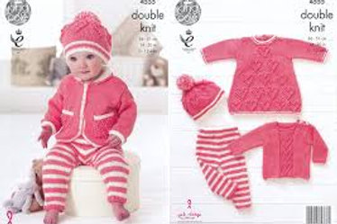 King Cole 4555 Baby Set in Baby Glitz DK