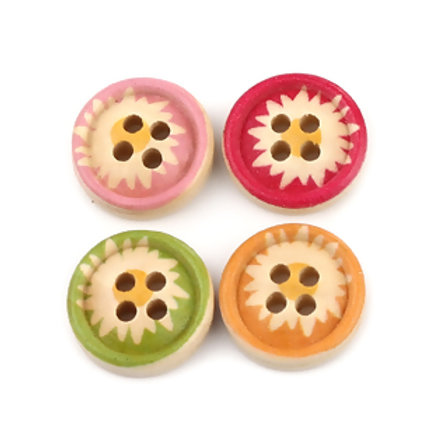 Starburst baby buttons 15mm ( Round resin with colour)- set of 5
