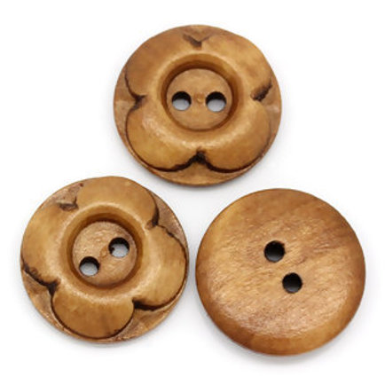 Wooden Buttons, 2 hole 20mm- set of 5