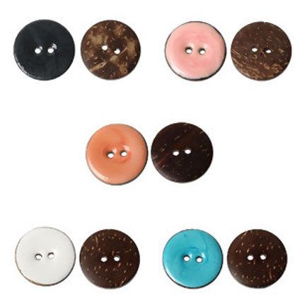 Coconut Shell Buttons,Handmade, 25mm- set of 5