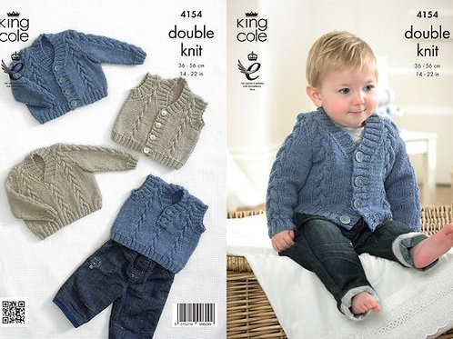 King Cole 4154 Waistcoat, Cardigan, Slipover and Sweater