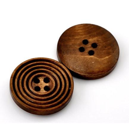 Wooden Buttons, Spiral 25mm- set of 5