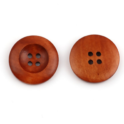 Wooden Buttons, 4 hole 25mm- set of 5