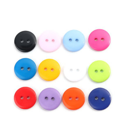 Basic Baby buttons 15mm ( Round plastic)- set of 5