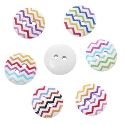Waves Design Baby Buttons 15mm ( Round resin)- set of 5