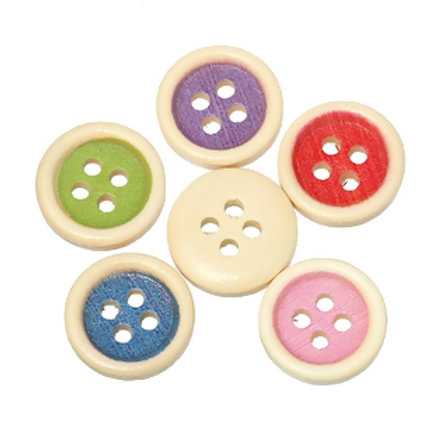 Coloured Middle Baby Buttons 15mm ( Round wood)- set of 5