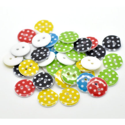 Polka dot baby buttons 15mm ( Round resin)- set of 5