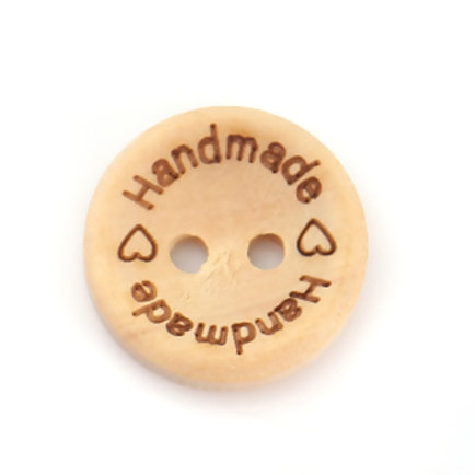 """""""Handmade"""" Baby Buttons 15mm ( Round wood)- set of 5"""