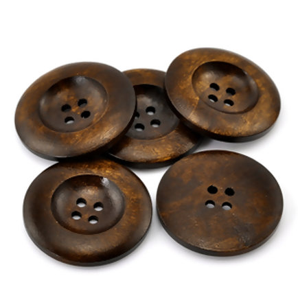 Large Wooden Buttons, 4 hole- set of 5