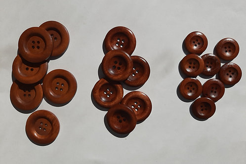 Adult Buttons- set of 5-Brown Wood
