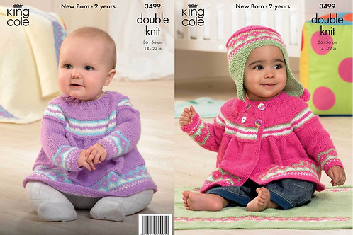 King Cole 3499 Knitting Pattern Jacket, Angel Top, Hat and Blanket in King Cole