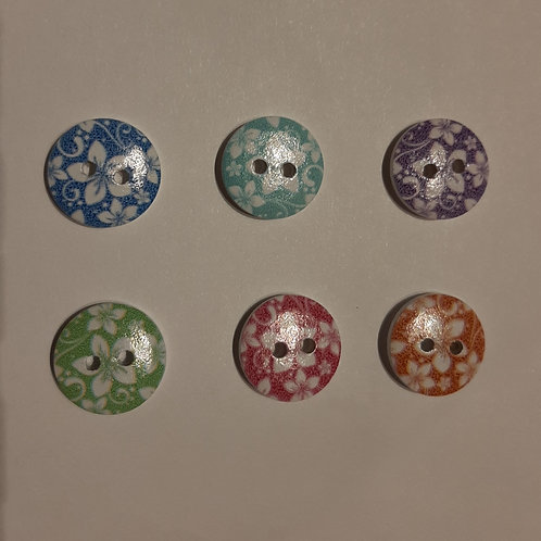 Floral baby buttons 15mm ( Round resin with colour)- set of 5