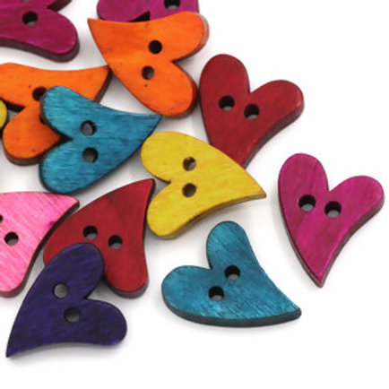 Heart Baby Buttons 21mm ( Wood)- set of 5