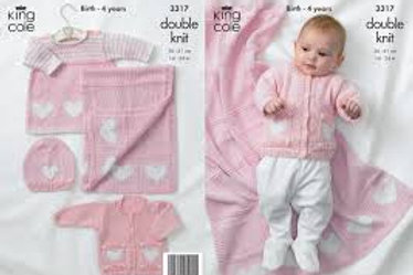 "King Cole 3317 Baby ""In The Pink"" Cardigan, Dress, Hat and Blanket"