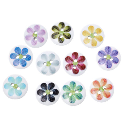 Flower Design Baby Buttons 15mm ( Round resin)- set of 5