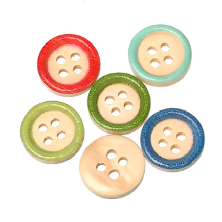 Coloured Edge Baby Buttons 15mm ( Round wood)- set of 5
