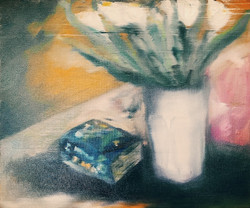 Blurred-White Tulips with old dictionary