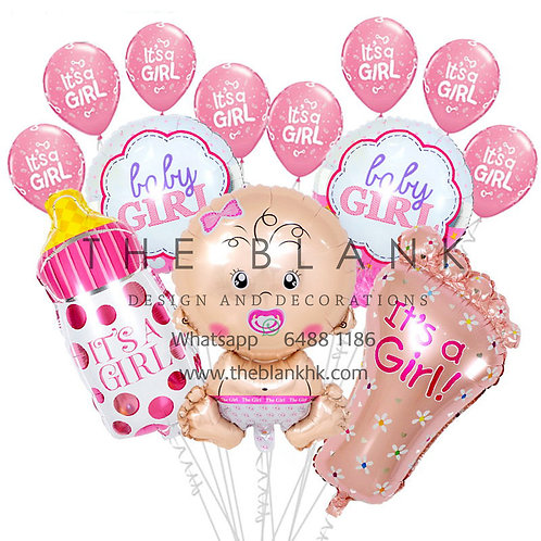 IT'S A GIRL SET BALLOONS BOUQUET PARTY