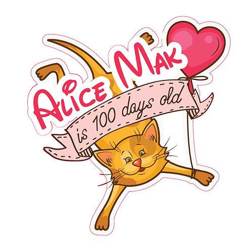Love Cats 100 Days Happy Birthday Backdrop