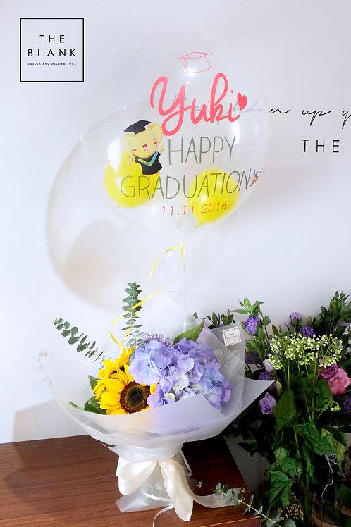 Mini Graduation Flower Bouquet with Msg Balloon