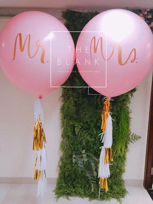 """Mr & Mrs 36""""巨型乳膠氣球連流蘇"""
