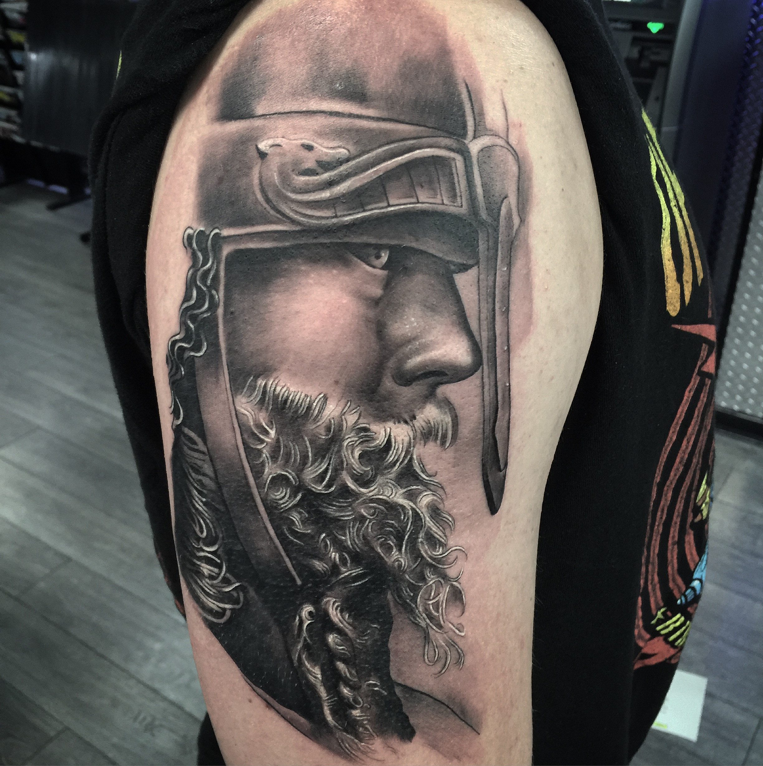 viking black and grey tattoo