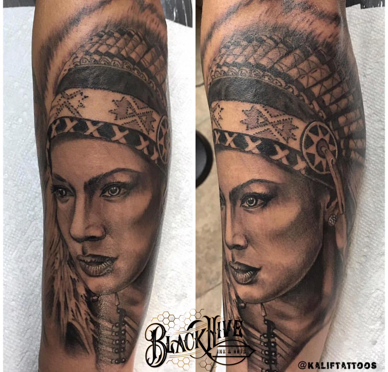 headdress native tattoo black and gr