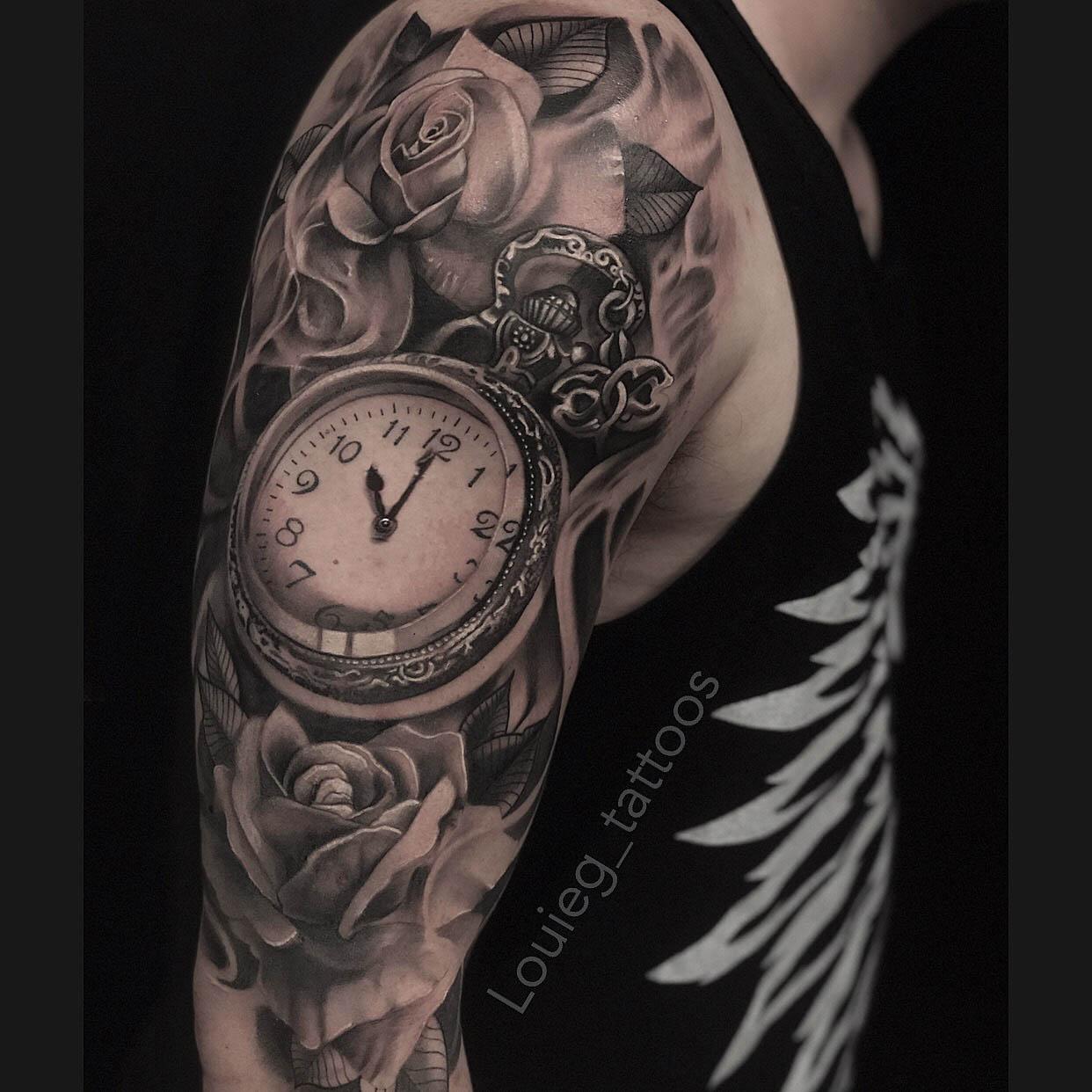 clock and rose