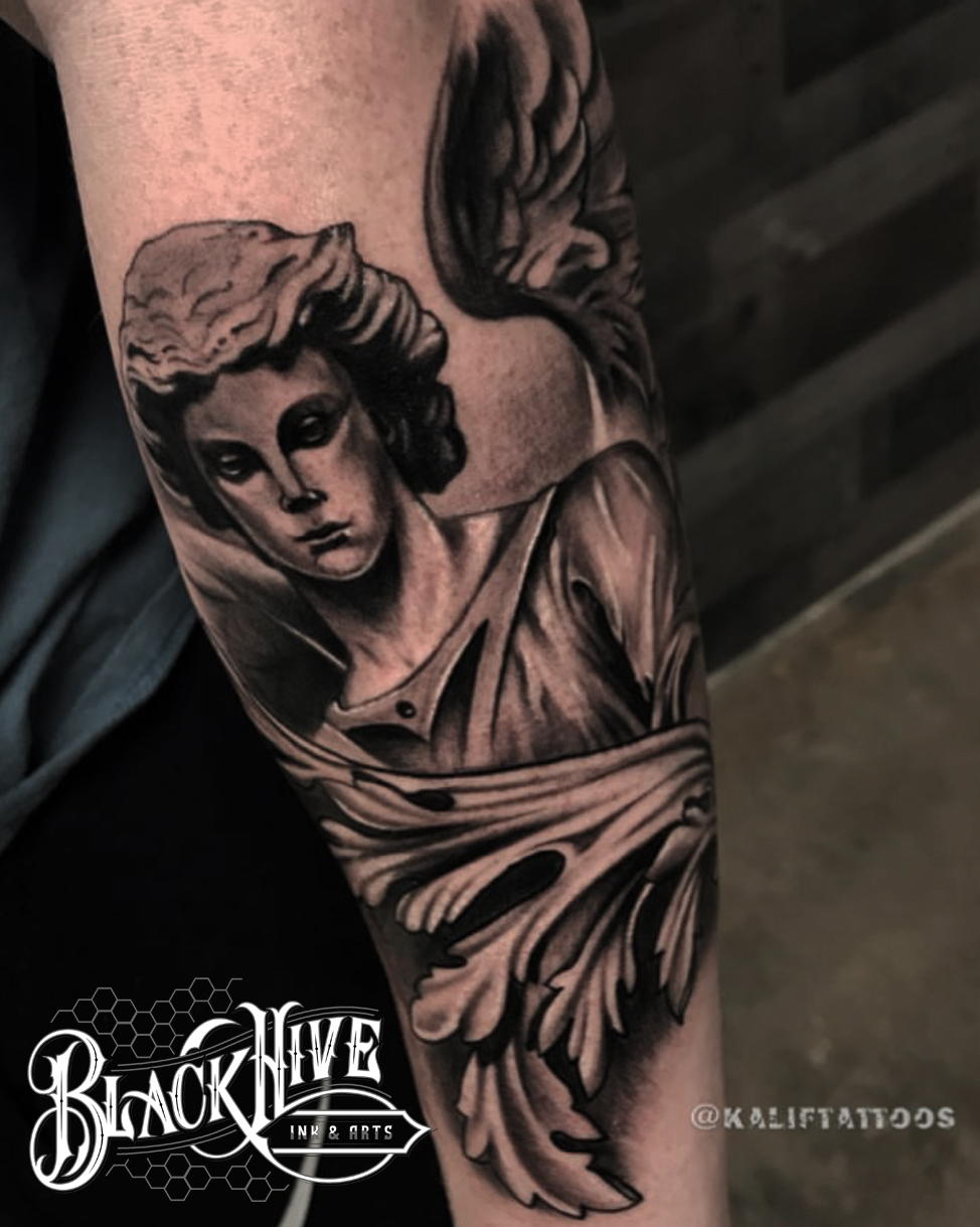 statue tattoos black and grey tattoo