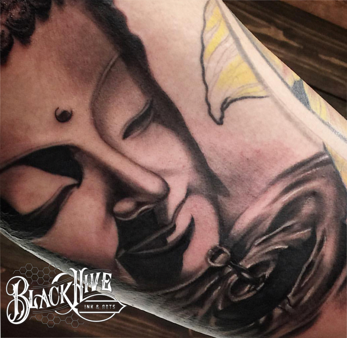 buddah black and grey tattoo