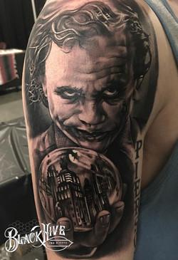 joker tattoo black and white